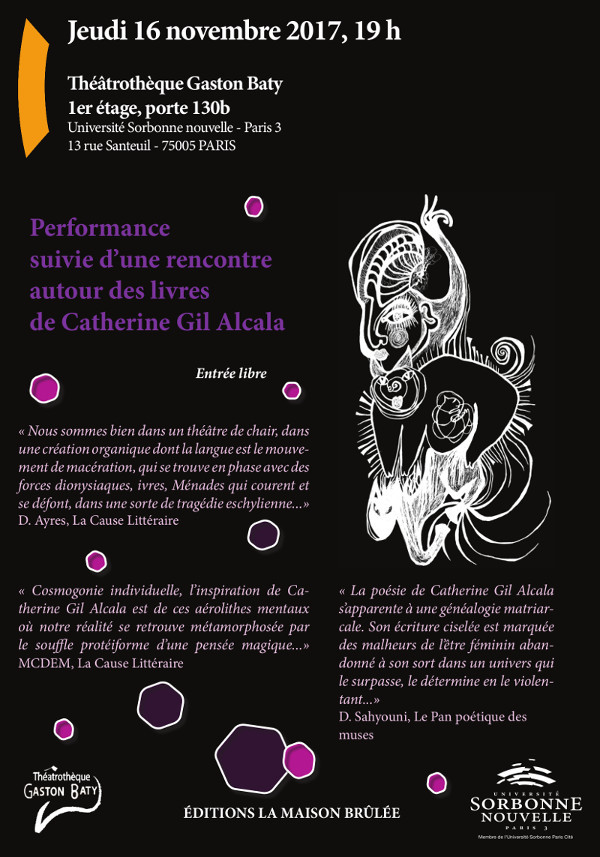 affiche Performance Catherine Gil Alcala - Université Sorbonne Nouvelle Paris 3