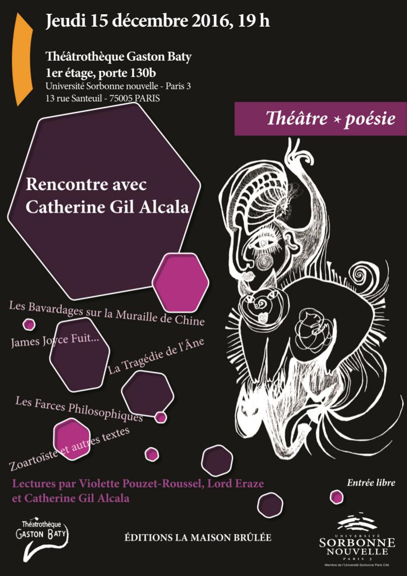 Affiche Rencontre littéraire avec Catherine Gil Alcala à la Théâtrothèque Gaston Baty