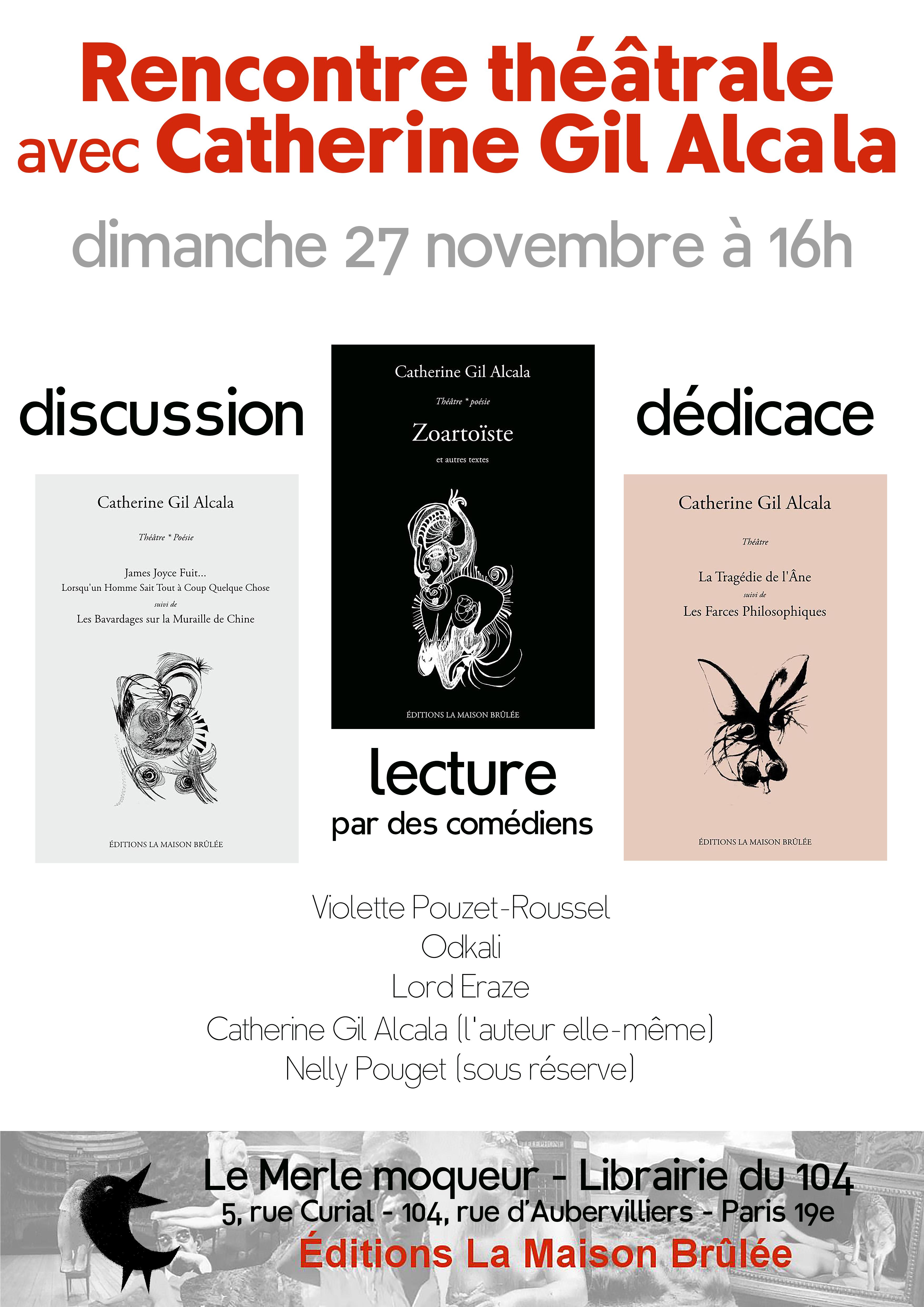 Affiche Rencontre littéraire avec Catherine Gil Alcala au 104