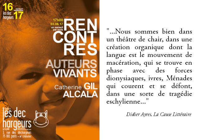 Affiche Rencontre littéraire avec Catherine Gil Alcala au théâtre des Déchargeurs